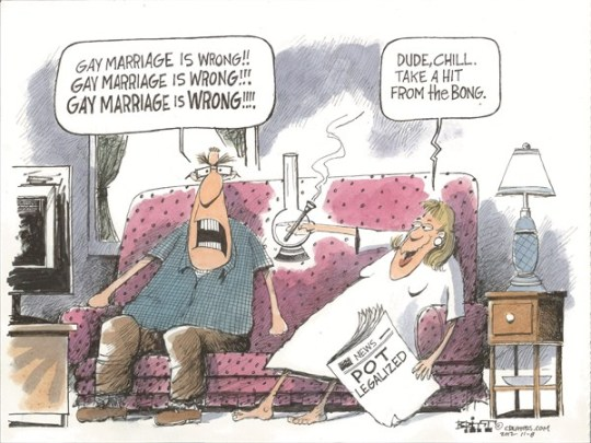Chill Out © Chris Britt,The State Journal Register,gay marriage,women,men,pot,legalized,chill
