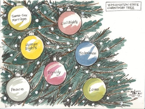 Washington State Christmas Tree © Chris Britt,The State Journal Register,tolerance,peace,christmas,tree,same sex,marriage,gay,lesbian,peace on earth