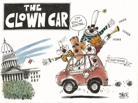 Clown Car © Chris Britt,The State Journal Register,boehner,clown,car,gop,house,control,new-congress