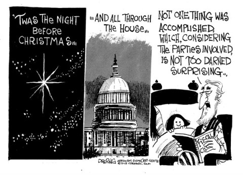 Night Before Christmas © John Deering,The Arkansas Democrat Gazette,night,parties,accomplished,Christmas 2012, fiscal cliff, political christmas 2012