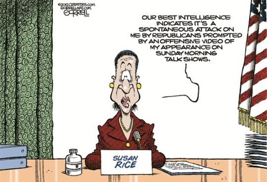 Rice Intelligence © Bob Gorrell,National/Syndicated,benghazi coverup, rice benghazi