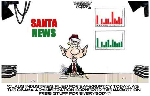 Santa News © Bob Gorrell,National/Syndicated,santa,news,obama,free,gifts,administration,bankruptcy,political-christmas-2012