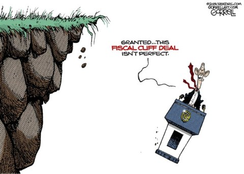 Fiscal Cliff Deal © Bob Gorrell,National/Syndicated,fiscal cliff,deal,obama,perfect