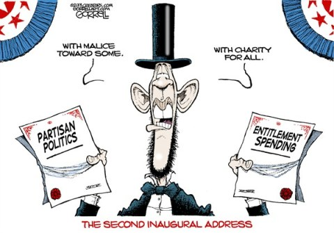 The Second Inaugural Address © Bob Gorrell,National/Syndicated,obama,inaugural,address,second,best of obama,entitlements,spending,debt,partisian,obama-inauguration,obama-second-term
