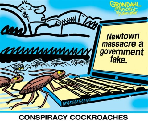 Conspiracy Cockroaches © Cal Grondahl,Utah Standard Examiner,conspiracy,newtown,massacre,shooting,guns,killing,violence