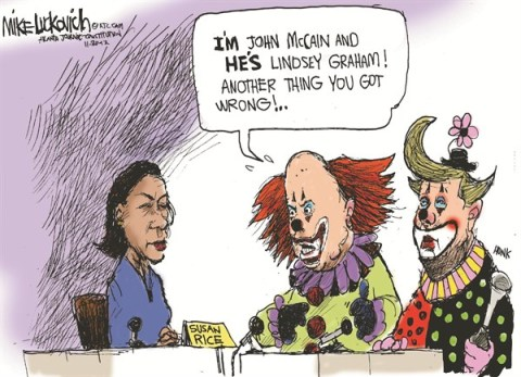 The Clowns © Mike Luckovich,The Atlanta Journal Constitution,susan rice,benghazi,clowns,graham,mccain,rice-benghazi