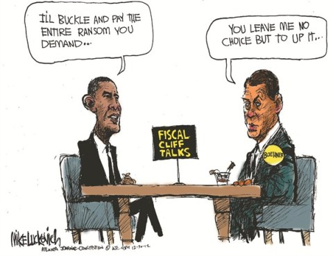 Fiscal Cliff Talks © Mike Luckovich,The Atlanta Journal Constitution,fiscal cliff,talks,obama,ransom,demand,boehner