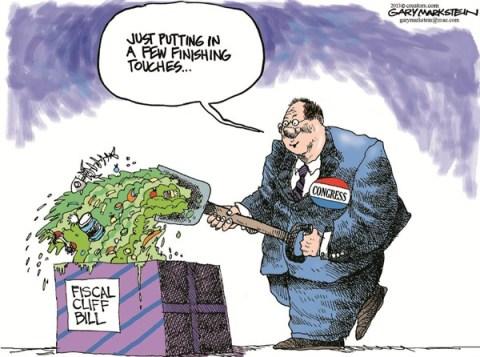 Fiscal Cliff Bill © Gary Markstein,The Milwakee Journal Sentinel,fiscal cliff,bill,deal,congress,finish,garbage,budget,fiscal-cliff-stopped,new-congress