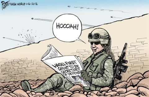 Grunt Hagel © Bruce Plante,Tulsa World,grunt,hagel,secretary of defense,military,soldier,first,chuck-hagel