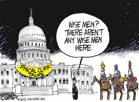 Wise Men © Marshall Ramsey,The Clarion Ledger, Jackson Mississippi,tax,agreement,wise men,wisemen,congress,obama,Christmas 2012, taxes common ground