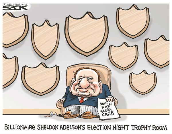 Super Pac Score Card © Steve Sack,The Minneapolis Star Tribune,super  pac,billionaire,sheldon adelson,trophy