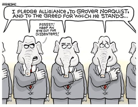 Greedy Norquist © Steve Sack,The Minneapolis Star Tribune,grover norquist,greedy,tax,gop,allegiance,norquist-no-tax