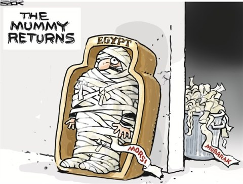 The Mummy Returns © Steve Sack,The Minneapolis Star Tribune,egypt,morsi,mummy,returns,mubarak,pharoah,pharoh-mohamed-morsi
