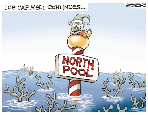 North Pool © Steve Sack,The Minneapolis Star Tribune,christmas 2012,north pole,elves,melting,reindeer,ice cap,global warming,Christmas 2012