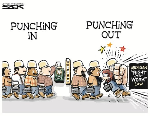 Punching Out © Steve Sack,The Minneapolis Star Tribune,union unrest,right to work,work,union,time,Union Unrest
