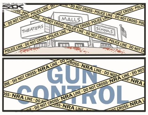 Gun Control © Steve Sack,The Minneapolis Star Tribune,mall,guns,control,violence,shooting,theaters,school,kids,connecticut shooting, gun debate 2012, nra, school violence