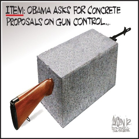 Aislin - The Montreal Gazette - Concrete gun control proposals - English - Obama, gun controls