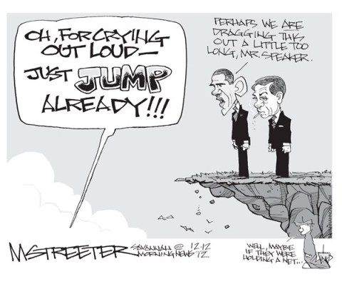 Meanwhile  Back at the Cliff © Mark Streeter,The Savannah Morning News,boehner,obama,fiscal cliff,jump,tax,boehner-stalled,taxes-common-ground