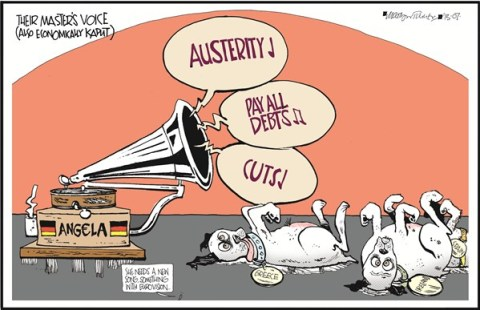 The Masters Voice © Martyn Turner,The Irish Times, Dublin,master,voice,dog,cuts,debts,austerity