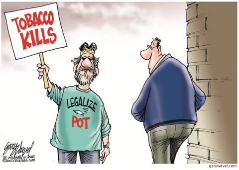 Legalize Pot © Gary Varvel,The Indianapolis Star News,tobacco,legalize,pot,smoke,kill,death