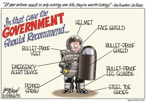 Life Saving © Gary Varvel,The Indianapolis Star News,joe biden,life,saving,helmet,bulletproof,steel,recommend,Assault Weapons, gun debate 2012, Living With Guns