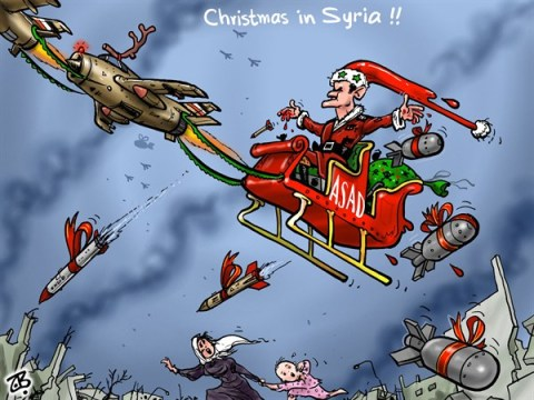 Emad Hajjaj - Jordan - Christmas in Syria - English - Christmas,Syria,Bashar Asad,Santa,carriage,bombs,war crimes,civil war,Emad Hajjaj,Middle east,