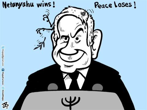 Emad Hajjaj - Jordan - Netanyahu wins  - English - Netanyahu wins Israeli election,third tem,Israel,Palestine,Abbas,peace process,two state solution,Obama,winning speech,Likud party,peace dove dead,head,Middle East,Emad Hajjaj,