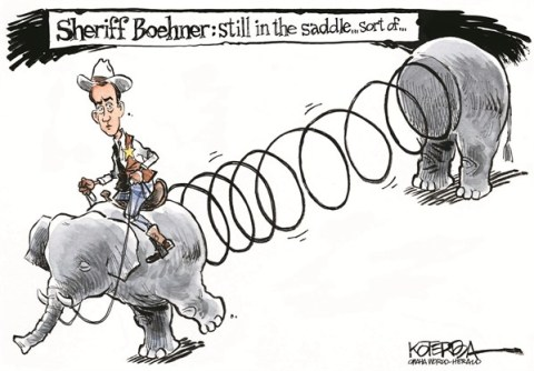 In The Saddle © Jeff Koterba,Omaha World Herald, NE,boehner,saddle,sheriff