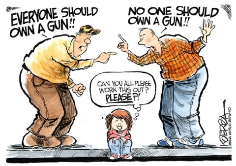 Who Should Own a Gun © Jeff Koterba,Omaha World Herald, NE,guns,violence,kids,schools,protection,rights,freedom,shooting,life-with-guns,gun debate 2012, nra, NRA 2012, second amendment