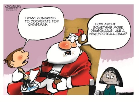Cooperate for Christmas © Ken Catalino,National/Syndicated,congress,cooperate,tax,football,reasonable,santa,kids,GOP, santa 2012, taxes common ground