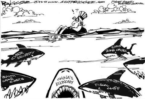 Milt Priggee - Puget Sound Business Journal - Jaws - English - america, united states, healthcare costs, cyber security, china, economy, fiscal cliff, eurozone crises, business, capitalism