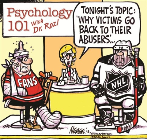 Psych 101 © Steve Nease,Freelance,hockey lockout,abusers,victims,fans,players,hockey,nhl