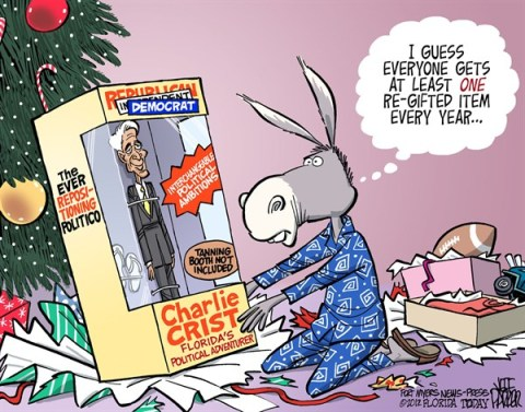Jeff Parker - Florida Today and the Fort Myers News-Press - Charlie Crist Re-Gifted - English - Charlie Crist, Republican, Democrat, switch, parties, party, campaign, governor, Florida, holiday, Christmas, re-gifting
