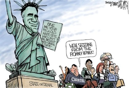 State of Denial © Jeff Darcy,The Cleveland Plain Dealer,romney,obama,denial,seceding,gifts,bought,rich,old,white,christie,jindal,seceding-movement,seceding movement