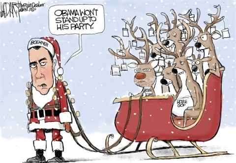 Jeff Darcy - The Cleveland Plain Dealer - Santa Boehner - English - boehner,santa,reindeer,obama,party,gop,grover,political-christmas-2012