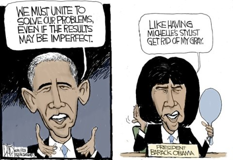 We Must Unite © Jeff Darcy,The Cleveland Plain Dealer,obama,unite,term,michelle,stylist,bangs,problems,best of obama, obama second term