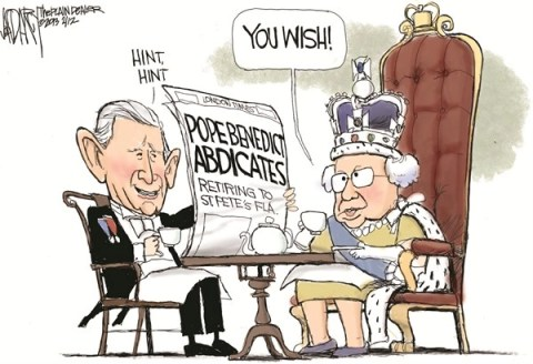 Jeff Darcy - The Cleveland Plain Dealer - Pope Benedict abdicates - English - Pope Benedict, Pope abdicates,Queen Elizabeth,Prince Charles
