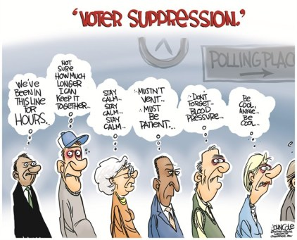 John Cole - The Scranton Times-Tribune - Voter suppression COLOR - English - 2012 election, voter suppression, voters, gop, democrats, voting