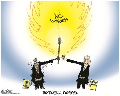 John Cole - The Scranton Times-Tribune - The torch is passed COLOR - English - harry reid, john boehner, congress, gop, tea party, democrats, republicans, entitlements, taxes, tax cuts, medicare, social security, fiscal cliff