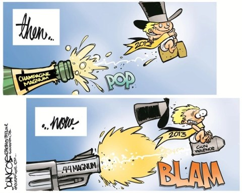 John Cole - The Scranton Times-Tribune - New Year magnums COLOR - English - NRA, GUNS, NEWTOWN, TUSCON, AURORA, SHOOTINGS, GUN CONTROL, NEW YEAR, 2013, GUN VIOLENCE
