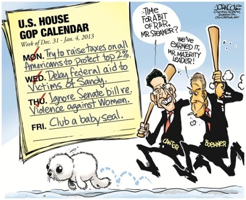 John Cole - The Scranton Times-Tribune - Boehner and Cantor go clubbing COLOR - English - JOHN BOEHNER, ERIC CANTOR, CONGRESS, GOP, TEA PARTY, FISCAL CLIFF, SANDY, SUPERSTORM SANDY