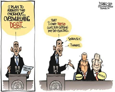 John Cole - The Scranton Times-Tribune - Obama debt COLOR - English - OBAMA, DEBT, GOP, INAUGURATION, JOHN BOEHNER, BOEHNER, MITCH MCCONNELL, MCCONNELL