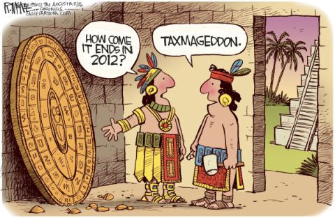 Mayan Taxmageddon © Rick McKee,The Augusta Chronicle,Mayan calendar, taxmageddon, fiscal cliff, recession, tax cuts, spending cuts
