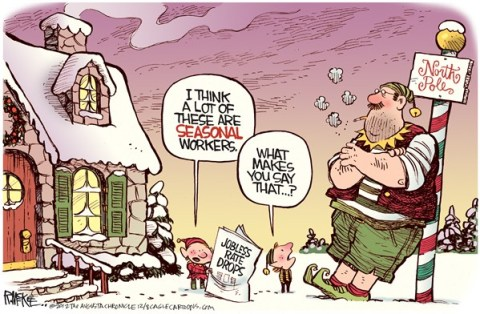 Rick McKee - The Augusta Chronicle - Seasonal Workers - English - Jobless, Unemployment, Christmas, Thanksgiving, seasonal, workers