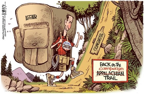 Rick McKee - The Augusta Chronicle - Mark Sanford Back on the Trail - English - Mark Sanford, South Carolina, Congress, Appalachian Trail, affair