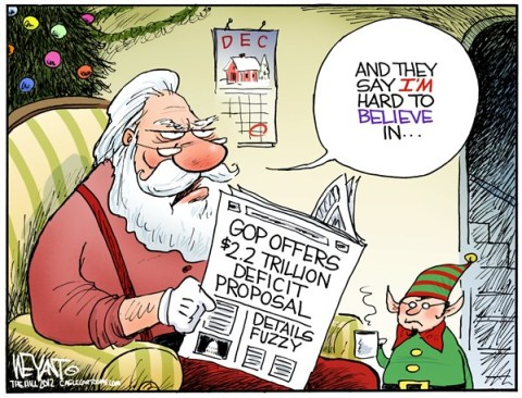 Christopher Weyant - The Hill - Santa Disbelief - English - GOP, Republican, offer, Congress, counter, budget, deficit, debt, proposal, fiscal cliff, sequestration, White House, Obama, Democrats, Santa Claus, elf, belief, Christmas