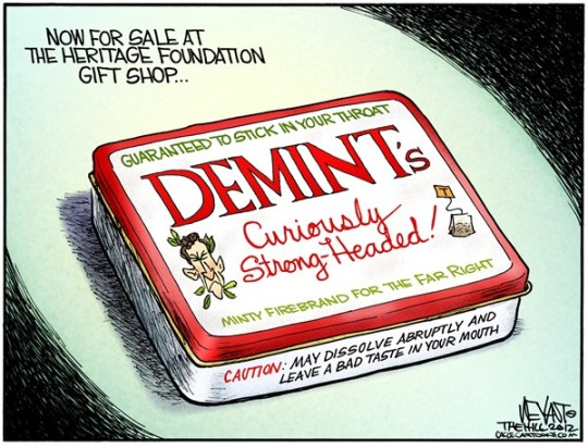 Christopher Weyant - The Hill - Demints - English - Jim Demint, GOP, Republican, South Carolina, Senator, Senate, resign, resignation, Heritage Foundation, money, Tea Party, Altoids, tin, sellout