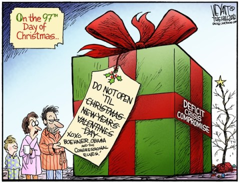 Christopher Weyant - The Hill - And A Partridge In A Pear Tree - English - congress, christmas, holiday, present, tax cuts, bush, sequestration, compromise, budget, deficit, debt, social security, entitlements, 12 days of christmas, song, Obama, Boehner