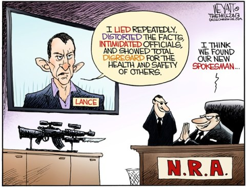 Christopher Weyant - The Hill - NRArmstrong - English - National Rifle Association, NRA, Lance Armstrong, gun control, Obama, Congress, evil, assault weapons, Newtown, CT, massacre, doping, scandal