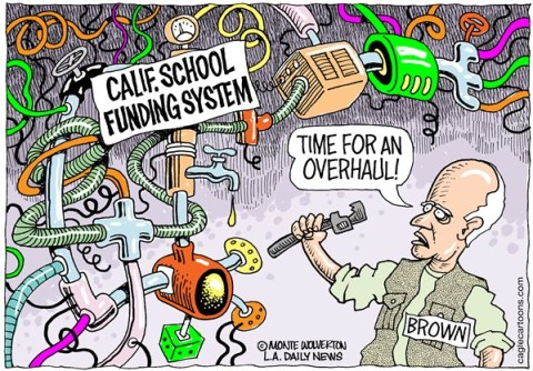 Wolverton - Cagle Cartoons - LOCAL-CA Cal School Funding Overhaul COLOR - English - California, Schools, School funding, Taxes, Overhaul, Brown, Jerry Brown, Budget